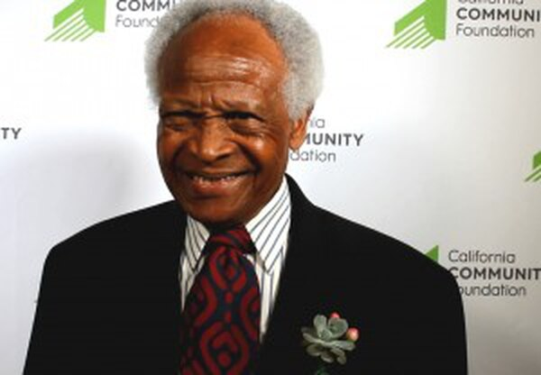 Hayward Gray, recognized for his work in helping keep South L.A. seniors active, jokes about fitness. (Marisa Zocco/Intersections South L.A.)