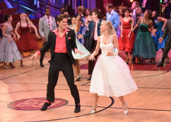 """""""Grease: Live"""" stars Julianne Hough as Sandy and Aaron Tveit as Danny. (Fox)"""