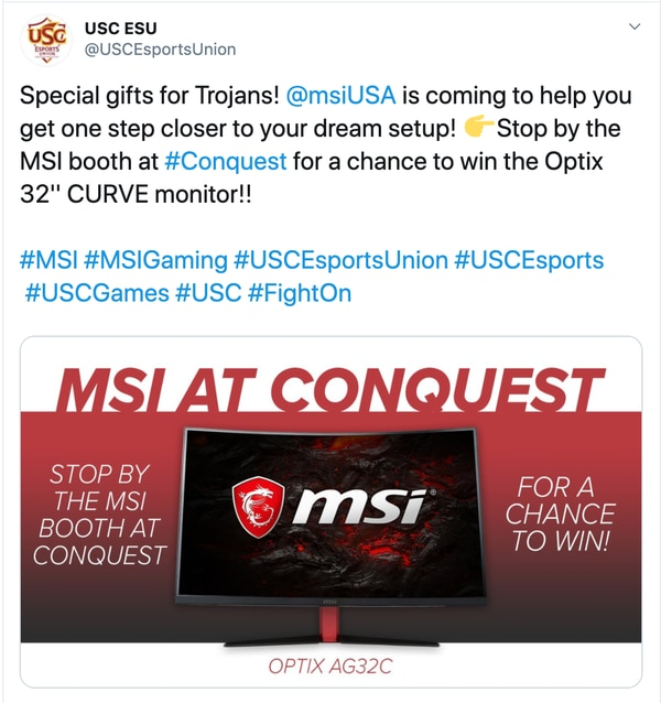 MSI will be hosting a giveaway at this year's Conquest event (Tweet from @USCEsportsUnion)