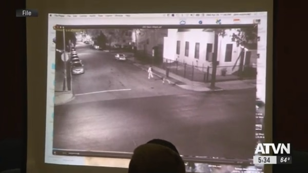 Footage from a surveillance camera near campus shows Garcia chasing Ji. (Source: Annenberg Media ATVN file archive)